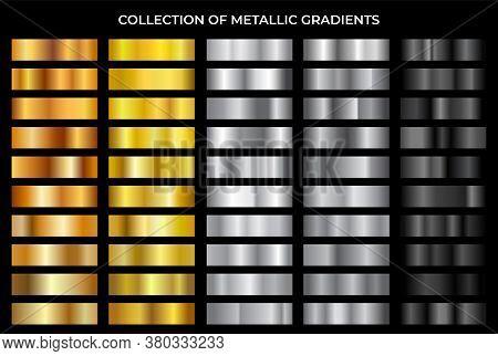 Gold, Bronze, Silver And Black Texture Gradation Background Set. Vector Metallic Gradients. Elegant,