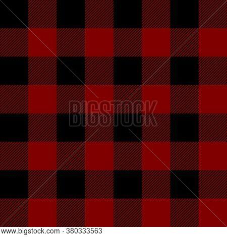 Tartan Plaid. Scottish Pattern In Black And Maroon Cage. Scottish Cage. Traditional Scottish Checker