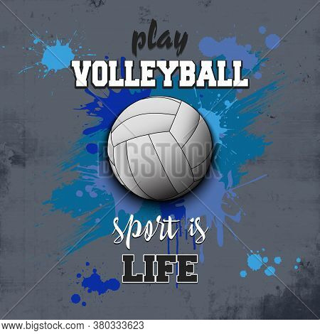 Volleyball Ball Icon. Play Volleyball. Sport Is Life. Pattern For Design Poster, Logo, Emblem, Label