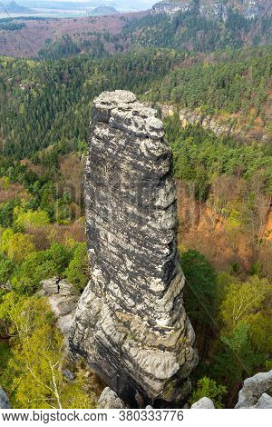 Sandstone Columns. The Elbe Sandstone Mountains Are A Sandstone Massif On The Upper Reaches Of The E