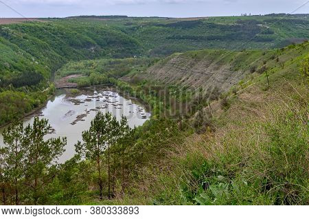Kitaygorod Outcrop. Geological Landscape. The Most Complete Section Of Silurian And Devonian Sedimen