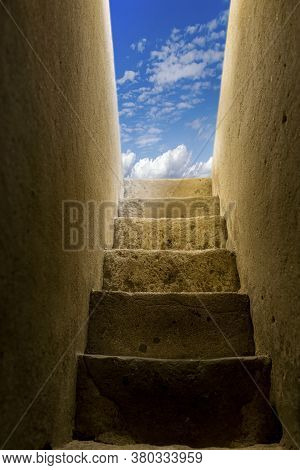 Stairway To Heaven. The Concept Of Success And Movement Towards A Better Life. Coming To God.