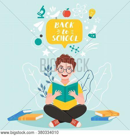 Back To School Banner. Iittle Boy Reading Book. Vector Illustration Eps 10