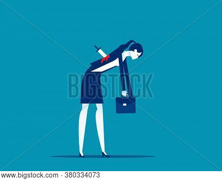 Businesswoman Stabbed In The Back With Knife. Business Faithfulness Concept. Flat Cartoon Vector Sty