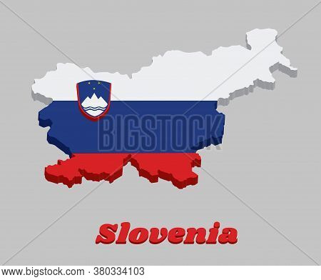 3d Map Outline And Flag Of Slovenia, A Horizontal Tricolour Of White Blue And Red; Charged With The
