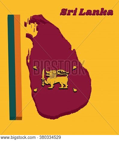 3d Map Outline And Flag Of Sri Lanka, Four Color Of Green Orange Yellow And Dark Red With Golden Lio
