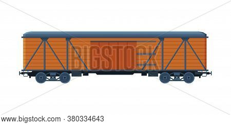 Old Wooden Cargo Train Wagon, Railroad Transportation Flat Vector Illustration On White Background