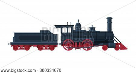 Old Train, Vintage Locomotive And Cargo Wagon, Railroad Transportation Flat Vector Illustration On W