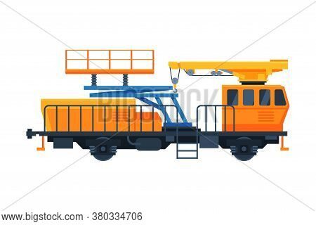 Freight Train Wagon, Railway Crane For Lifting And Moving Cargo, Railroad Transportation Flat Vector