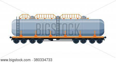 Tank Wagon, Oil Railway Cistern, Freight Train Railroad Transportation Flat Vector Illustration On W