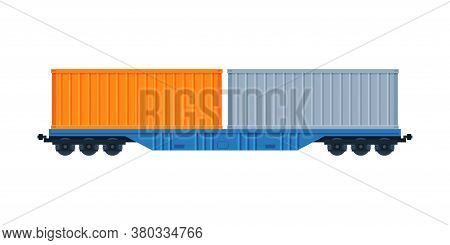 Cargo Train Wagons, Side, View, Railroad Transportation Flat Vector Illustration On White Background