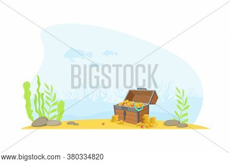 Wooden Ancient Chest Of Gold At The Bottom Of The Sea, Lost Pirate Treasures Cartoon Vector Illustra