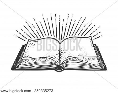 Book And Light Rays Sketch Engraving Vector Illustration. T-shirt Apparel Print Design. Scratch Boar