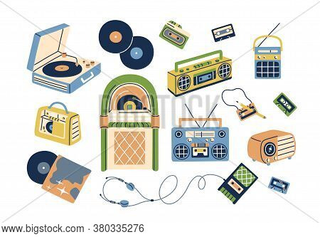 Collection Of Retro Analog Music Players And Cassette Recorder, Headphones, Tape, Jukebox, Boombox.