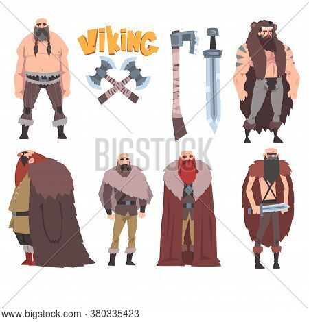 Strong Muscular Vikings Collection, Male And Female Scandinavian Warriors Characters In Traditional