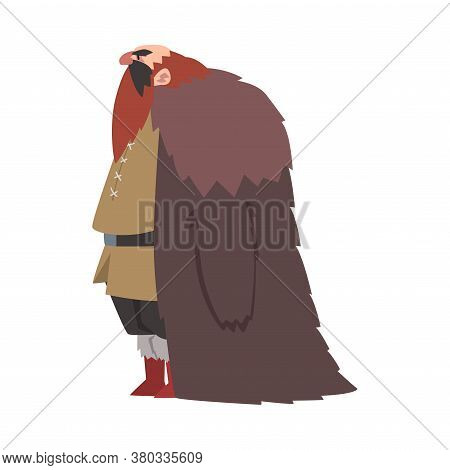 Angry Muscular Viking, Male Scandinavian Warrior Character In Traditional Clothes Vector Illustratio
