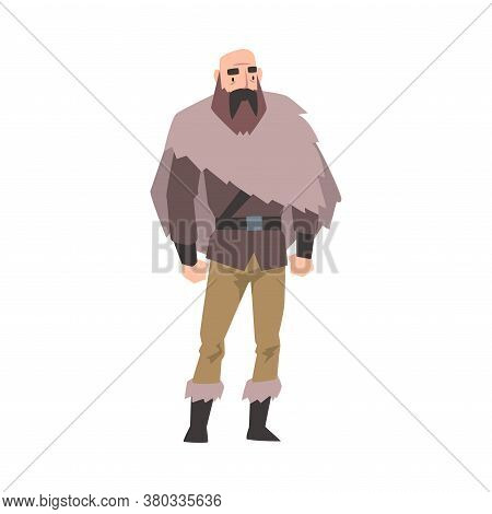 Viking, Male Norwegian Warrior Character In Traditional Clothes Vector Illustration