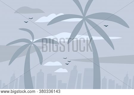 Hand Drawn Vector Abstract Stock Flat Graphic Illustration With City Urban View Scene On The Beach A