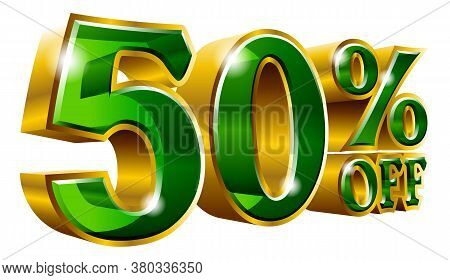 50% Off, Fifty Percent Off Discount Gold And Green Sign. Vector Illustration. Special Offer Discount