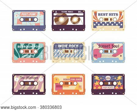 Set Of Compact Analog Audio Cassette From 80s, 90s. Different Retro Audiocassette With Old School Mu