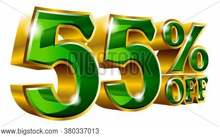 55% Off - Fifty Five Percent Off Discount Gold And Green Sign. Vector Illustration. Special Offer 55