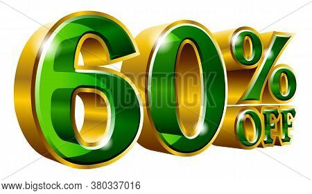 60% Off - Sixty Percent Off Discount Gold And Green Sign. Vector Illustration. Special Offer 60 % Of