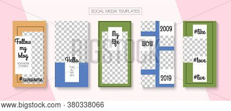 Mobile Stories Vector Collection. Online Shop Fashion Invitation Apps. Trendy Sale, New Arrivals Sto