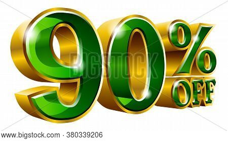 90% Off - Ninety Percent Off Discount Gold And Green Sign. Vector Illustration. Special Offer 90 % O