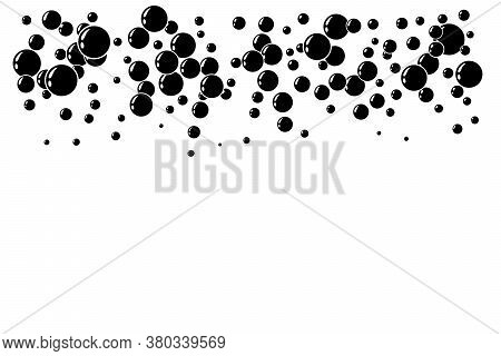 Underwater Air Bubbles Decoration Elements. Fizzy Water Or Soap Foam Texture. Vector Isolated Silhou