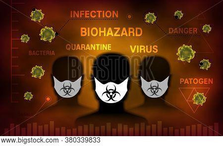 Bio Hazard Vector Illustration. Group Of Mans With Mask Among Pathogens.