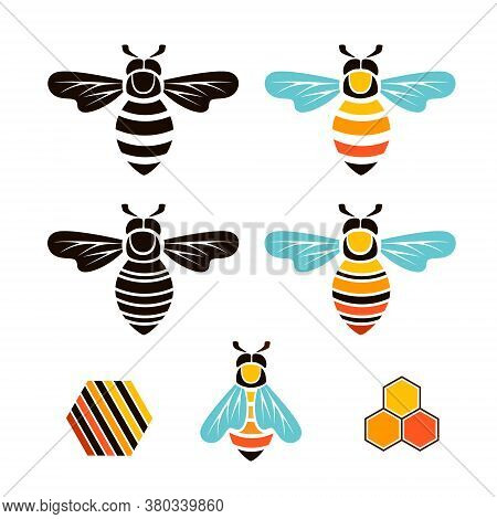 Bee And Hive. Vector Graphic Isolated Design Elements..
