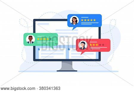 Feedback Customers Review On A Computer Monitor. People Evaluating Product, Service. Website Rating