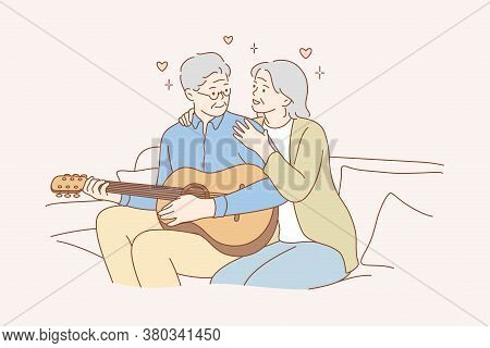 Couple, Love, Play, Romance, Music, Recreation Concept. Romantic Old Man And Woman Senior Citizens P