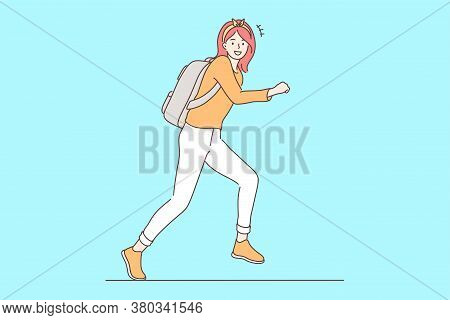 Education, Holiday, Joy, Happiness, Motion Concept. Young Happy Smiling Cheerful Schoolgirl Child St
