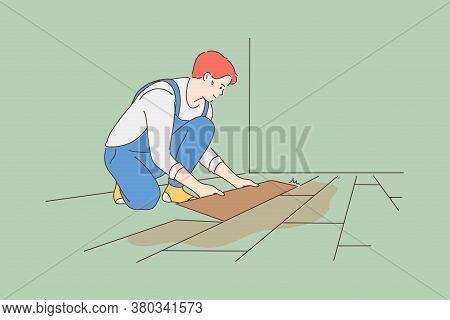 Repair, Installation, Carpentry, Work, Job Concept. Young Guy Worker Handyman Carpenter Cartoon Char
