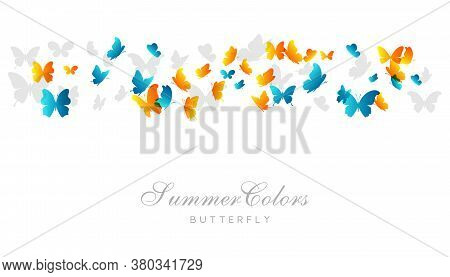 Flying Blue And Yellow Butterflies.. Vector Decoration Element. Flying Blue And Yellow Butterflies..
