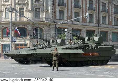 Moscow, Russia - June 20, 2020:t-15 Infantry Fighting Vehicle On The Armata Platform With The New 57