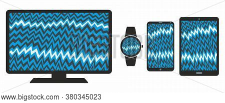 Mobile Phone Tablet Monitor Smart Watch Icons With Broken Screen Of Cartoon Electric Static Interfer