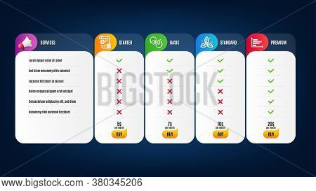 360 Degree, Settings Blueprint And Horizontal Chart Icons Simple Set. Price List, Pricing Table. Fai