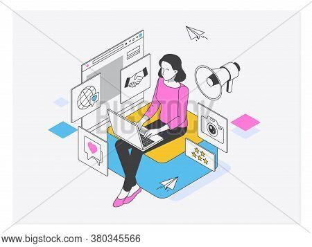 Social Media Manager Or Influencer At Work.macromarketing, Social Influence, Global Marketing Strate