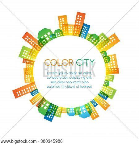 City Scape Colorful Decorations. Round Vector Banner.