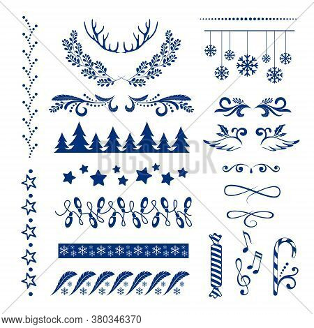 Christmas Decorations Collection. Dividers, Borders, Frames And Other Ornamental Design Elements..