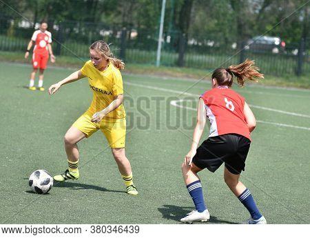 Orenburg, Russia - 12 June 2019 Year: Girls Play Football