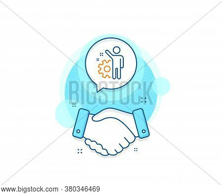 Business Management Sign. Handshake Deal Complex Icon. Employee Line Icon. Work Or Gear Symbol. Agre