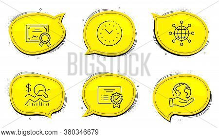 Time Management Sign. Diploma Certificate, Save Planet Chat Bubbles. Certificate, International Glob