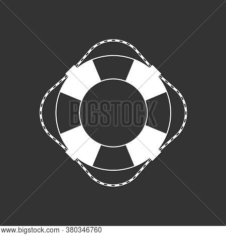 Lifebuoy Graphic Icon. Ship Lifebuoy Sign Isolated On Black Background. Symbol Salvations. Vector Il