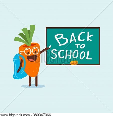 Back To School Vector Cartoon Concept Illustration With Cute Carrot Character Near Blackboard Isolat