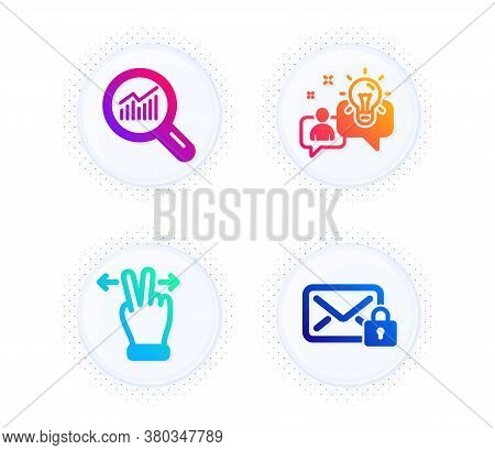 Touchscreen Gesture, Data Analysis And Idea Icons Simple Set. Button With Halftone Dots. Secure Mail