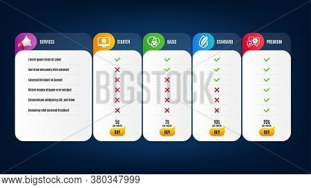 Euler Diagram, Hypoallergenic Tested And Time Management Icons Simple Set. Price List, Pricing Table