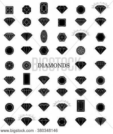 Black Diamond Collection Icons. Linear Outline Sign. Diamond Jewelry Icons. Vector Illustration Eps1